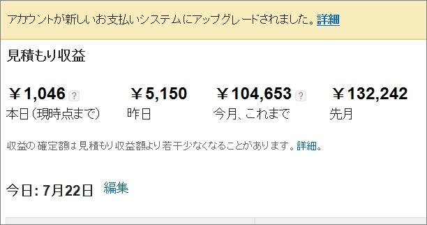 アドセンス収益が今月も10万円超え