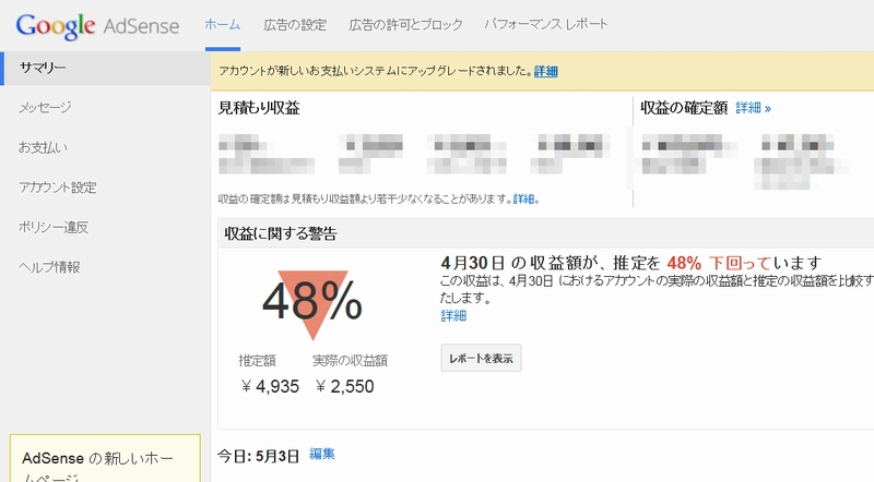 Google Adsenseで「収益に関する警告」が表示された(10か月ぶり2回目)